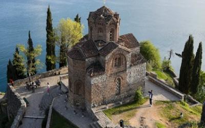 Stone building on coast line of North Macedonia